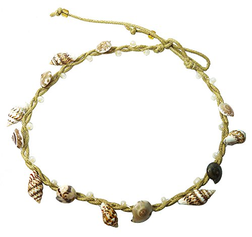 BDJ Handmade Tiny Shells Cotton Cord Anklet Bracelet Free Size (Making Costume Wings At Home)