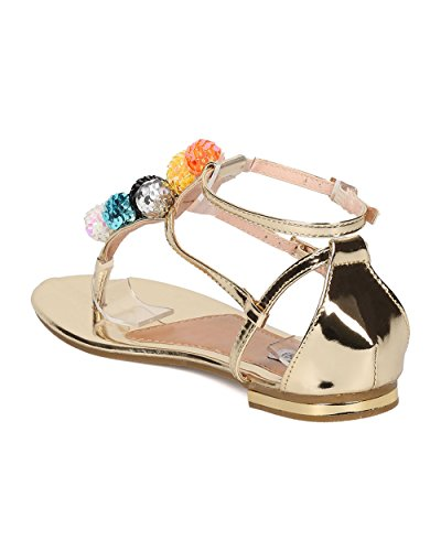 CAPE ROBBIN Women T-Strap Flat Sandal - Sequinned Ornament Sandal - Disco Ball Sandal - HK29 by Gold Metallic ZzBZLT