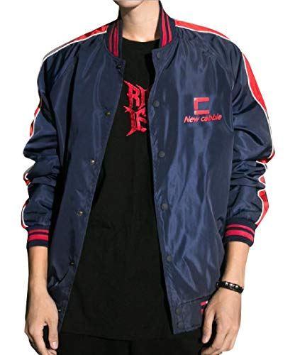 Howme-Men Classic Fit Banded Collar Light Weight Bomber Jacket Dark Blue