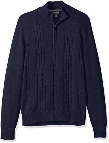 (Van Heusen Men's 1/4 Cable Sweater, Blue/Blue Iris Heather, Small)
