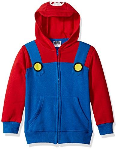 Nintendo Big Boys' Mario Fleece Zip Costume Hoodie, Blue/Red, (Costume Fleece Hoodie)