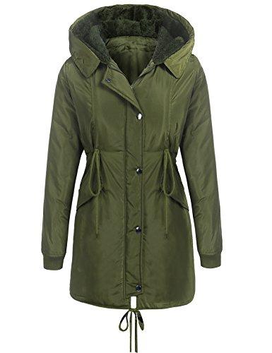 Beyove Women's Winter Casual Hooded Drawstring Waist Zip up Parka Jacket Long Coat Army Green M