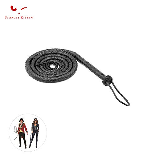 SCARLET KITTEN Cowboy Whip Cat Woman Long Whips Costumes Supplies for Halloween Costume Accessories 5.3ft/1.6m, Black]()
