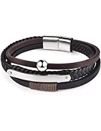 Mens Leather Bracelet Cool Magnetic-Clasp Cowhide Braided Multi-layer Wrap Rope with Silver Beads
