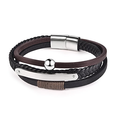 - OBSEDE Men's Black Brown Braided Leather Bracelet Rope Cool Design Stainless Steel Magnet Clasp Surfer Cuff Bangle 8.66 Inch