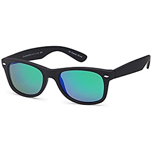 GAMMA RAY Classic Polarized Sunglasses for Kids Ages 5-10 – Black Frame Mirror Green Lens