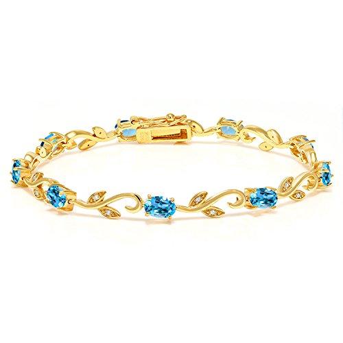 Gem Stone King 18K Yellow Gold Plated Silver Swiss Blue Topaz Diamond Greek Vine 7 Inch Bracelet