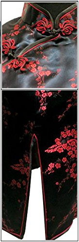 7Fairy Women's Black&Red Floral Mini Chinese Evening Dress Cheongsam Size 2 US - coolthings.us