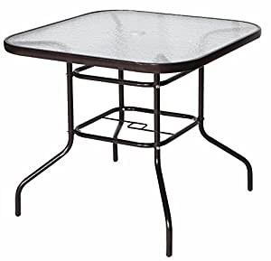 "Cloud Mountain 32"" x 32"" Patio Tempered Glass Dining Table Top Umbrella Stand Square/Round Table Deck Outdoor Furniture Garden Table, Dark Chocolate by Cloud Mountain"