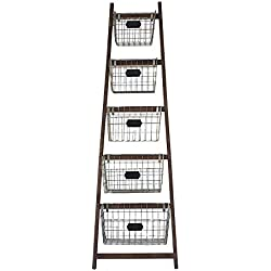 Creative Co-Op Wood Ladder with 5 Wire Baskets