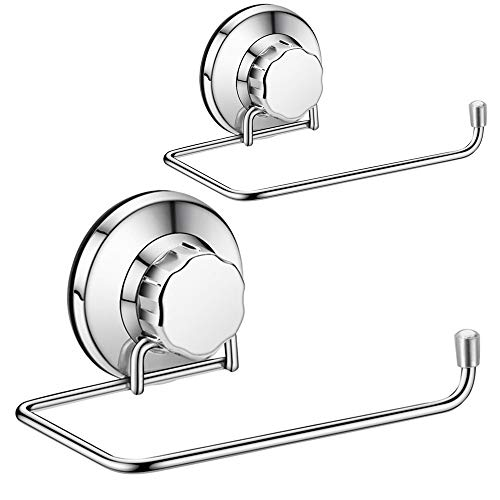 SANNO Toilet Paper Roll Holder,Wall Mount Stainless Steel Tissue Roll Dispenser for Bathroom & Kitchen Powerful Vacuum Suction Cup (Set 2)