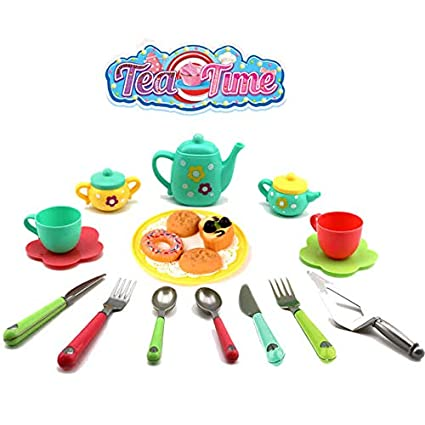 eerlik latest kitchen utensils tea party pretend food playset for kids (tea set)- Multi color