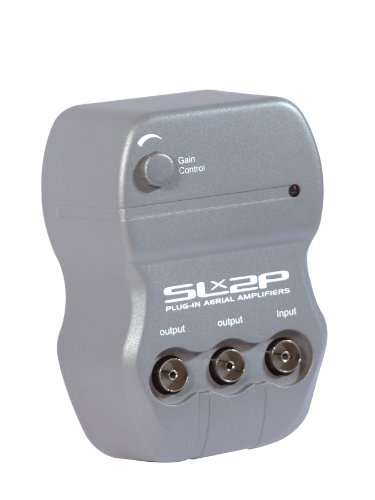 SLx 27841HSG 2-Way Plug In Aerial Amplifier For TV Signals with built in 4G Filter in Grey