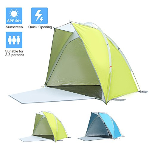 Star Home Lightweight Sun Shelter Easy Up Cabana Beach Tent 2 Person Beach Tent Color Green