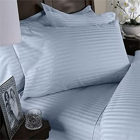 600 Thread Count Queen Siberian Goose Down Alternative Comforter 600FP 50oz With 100 Egyptian Cotton Stripe Damask Cover Blue Set Includes Bed Duvet Cover Sheet With TWO Shams Pillowcases Made Of 600 Thread Count 100 Long Staple Egyptian Giza Cotton With Swiss Sateen Finishing