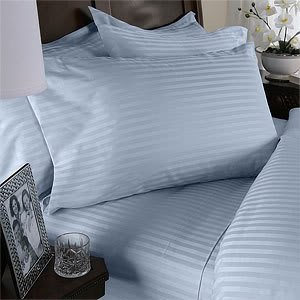 Blue Stripe Queen Size Size SIX piece [6] Bed Sheet Set (Deep Pocket) with FOUR [4] Pillow cases. 600 Thread Count 100% Long Staple Natural Combed Giza Cotton