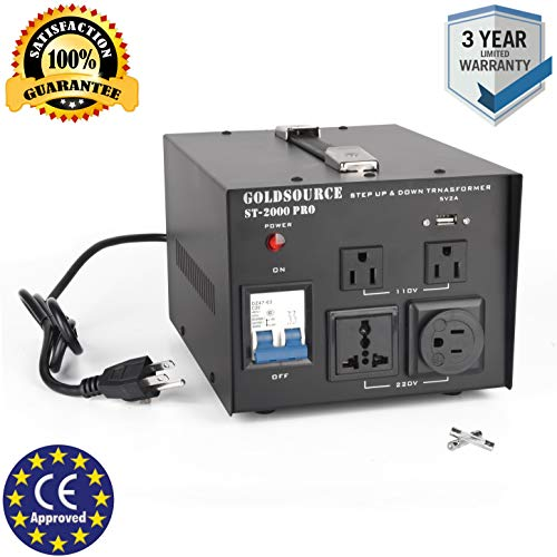 2000W Auto Step Up & Step Down Voltage Transformer Converter, ST-Pro Series Heavy-Duty AC 110/220V Converter with US Standard, Universal, Schuko AC Outlets & DC 5V USB Port by Goldsource ()