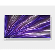 "24""x12"" purple painting art home office modern abstract wall decor original horizontal vertical METAL sculpture small present hand made by Lubo"