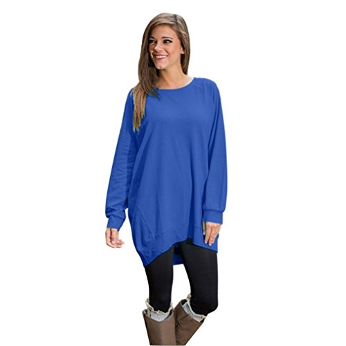 Perman Womens' Long Sleeve Loose Tunic Tops Ladies Pullover Blouse Shirt (XL, Blue)