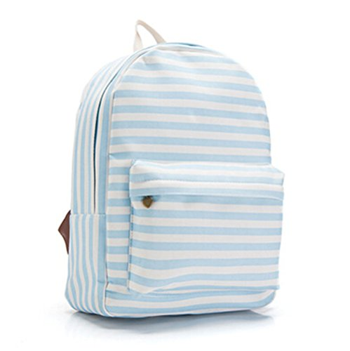KISS GOLD(TM) Girl's Lattice Grid Pattern Canvas Backpack Daybag Schoolbag(Blue Stripe)