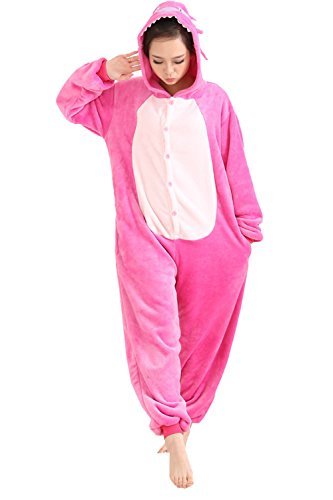 Duraplast Unisex Adult Pajamas Costume Onesie Flannel Halloween Cosplay Hooded Jumpsuit (Fuchsia,S) -