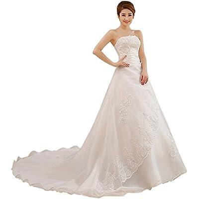Partiss Women's Sweetheart Strapless Train Wedding Dress
