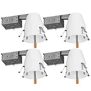 Sunco Lighting 4 Pack 4 Inch Remodel Housing, Air Tight IC Rated Steel Can, 120-277V, TP24 Connector Included for Easy Install - UL & Title 24 Compliant
