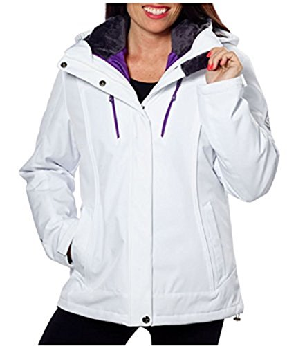 Gerry 3 in 1 Systems Womens Jacket with Detachable Hood White/Purple XL