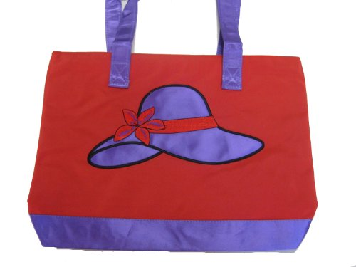 Red Tote Bag Purple Hat Design