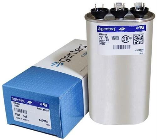 Packard POCFD455 - 45 + 5 uF MFD x 440 VAC Genteq Replacement Dual  Capacitor Oval # C4455L / 97F9844