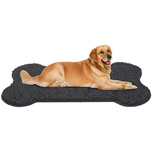 MAYSHINE Shaggy Pet Door Mat(3'x5' Feet) Dog Bone Shaped Mat Comfortable Dog Bed Machine-Washable Durable Absorb Mud and Dirt Keep Your House Clean - Charcoalgray ()