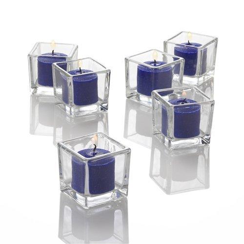 Richland Set of 72 Eastland Square Votive Holders & 72 Navy Blue Unscented Votive Candles ()