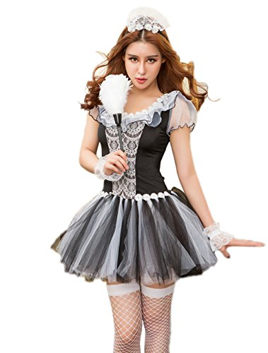 JJ-GOGO French Maid Dress - Sexy Naughty Halloween Maid Cosplay Costume for Women -
