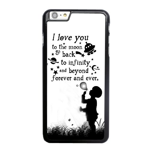Coque,Coque iphone 6 6S 4.7 pouce Case Coque, Love You To The Moon And Back Quotes Cover For Coque iphone 6 6S 4.7 pouce Cell Phone Case Cover Noir