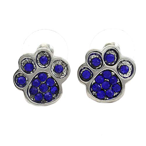 Soulbreezecollection Cute Dog Puppy Paws Animal Charm Stud Post Earrings Animal Lover Jewelry (Blue)