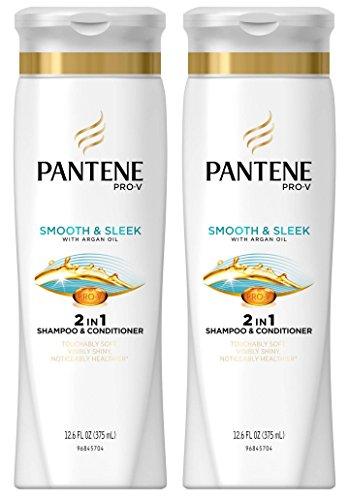 Shampoo Conditioner Moisturizing (Pantene Pro-V Smooth & Sleek 2in1 Shampoo and Conditioner with Argan Oil - 12.6 oz - 2 pk)