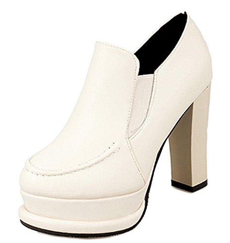 Aisun Womens Fashion Chunky High Heel Pump Shoes White euK0JIt