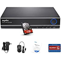 SANNCE HDMI 8CH 1080N/ 720P DVR W/ 1TB Hard Drive Disk for CCTV Home Security Surveillance Cameras System Weatherproof Body (P2P, QR Code Scan Smartphone Remote Viewing