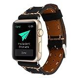 Wrist Watch Band, Winhurn Handcraft Leather Strap Belt for Apple Watch 42mm 2017 (black)