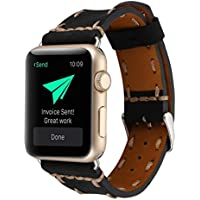 Wrist Watch Band, Winhurn Handcraft Leather Strap Belt for Apple Watch 42mm 2017 (black)
