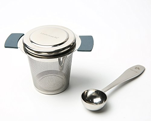 LeafLoveLife - Stainless Steel Tea Infuser with Lid and Handle - Fine Mesh Tea Strainer for Filtering Loose Leaf Grain Tea Cups, Mugs and Pots - Includes Tea Measuring Spoon