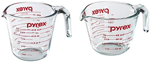 - Pyrex Prepware Measuring Cup, Clear with Red Measurements, Set of 1-Cup and 2-Cup