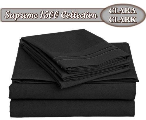 Clara Clark Superior Bed Sheet Set - Double Brushed Microfiber 4-Piece Bed Set - Deep Pocket Fitted Sheet - Queen - Black ()