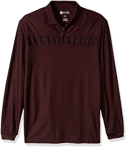 Haggar Mens Long Sleeve Quarter Zip with Chest Stripe