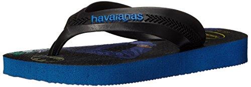 Havaianas Kids Max Heroes Sandal Flip Flops (Toddler/Little Kid), Black/Blue Stars, 25-26 BR(10 M US Toddler)