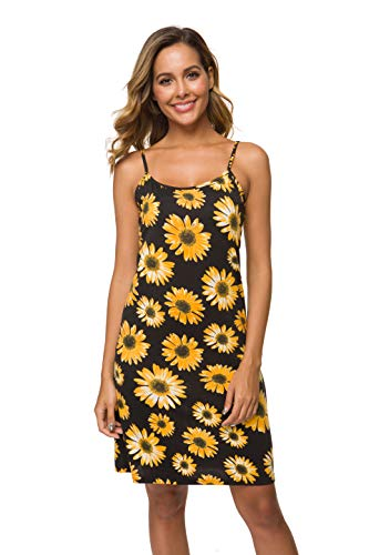Malist Women's Adjustable Spaghetti Strap Cami Full Slip Under Dress Floral Black Medium