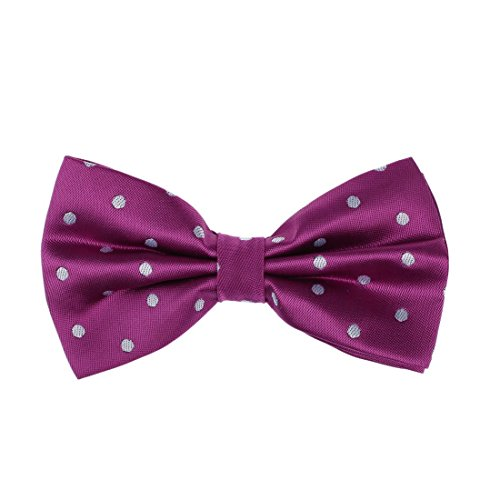Dan Smith DBD3D01L Dark Magenta Polka Dots Microfiber Youth Presents Idea Pre-tied Bow Tie