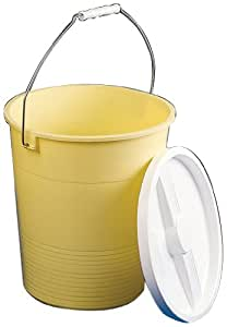 "Bel-Art Scienceware 167720000 Low Density Polyethylene Large Pail with Lid, 14qt Capacity, 10-1/2"" ID x 12-3/4"" Height, Yellow"