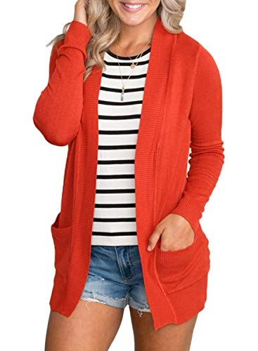 Dokotoo Womens Ladies Fashion Thin Autumn Fall Knit Soft Solid Open Front Long Sleeve Short Cardigan Sweater Outwear with Pockets Orange Large