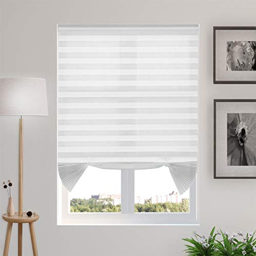 Temporary Blinds Cordless Pleated Shades and Blinds for Windows Light Filtering Fabric Blinds, Easy to Install and Cut, 6-Pack White, 48″x72″